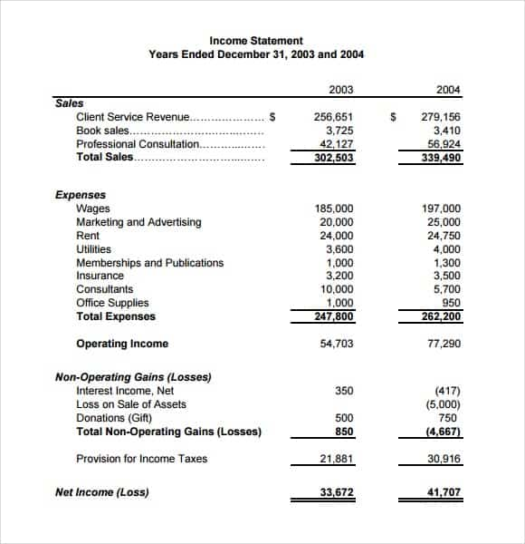 6 free income statement templates