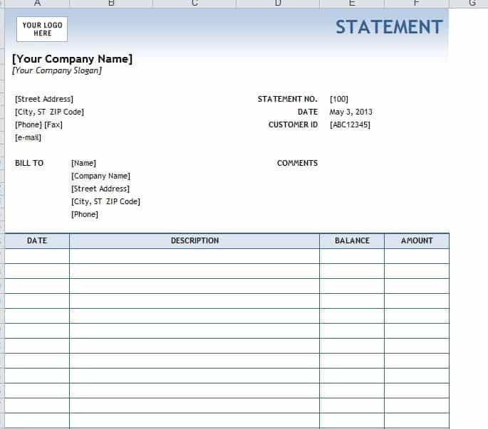 4 legal statement templates word excel sheet pdf for Free bank statement template