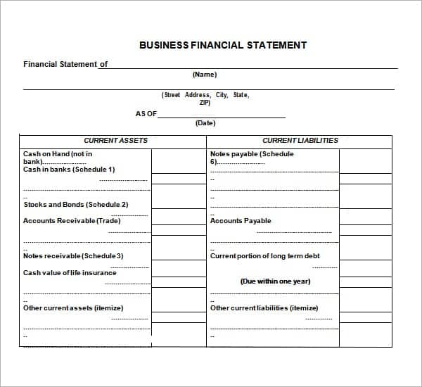 8 free financial statement templates word excel sheet pdf. Black Bedroom Furniture Sets. Home Design Ideas