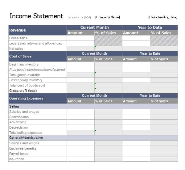 statement template for business