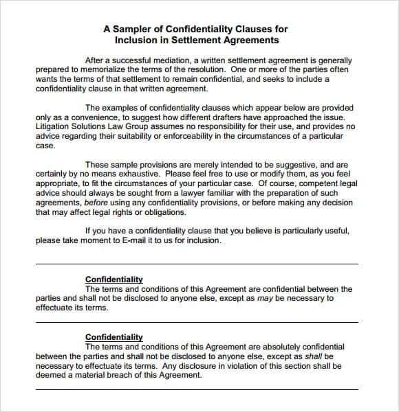 Disclosure Of Settlement Agreements >> Confidential Template Koran Sticken Co
