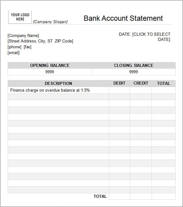 Statement Template | 6 Free Statement Of Account Templates Word Excel Sheet Pdf